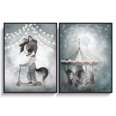 Mrs.Mighetto - 2-PACK WILLIAM/NIGHT CAROUSEL (18X24 포스터, 2장 세트)